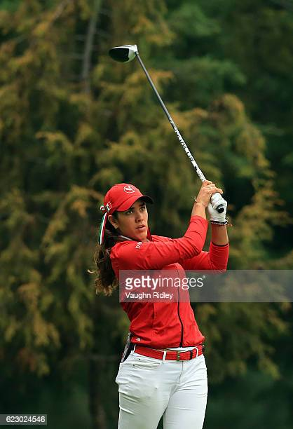 Maria Fassi of Mexico watches her 1st shot on the 2nd hole during the final round of the Citibanamex Lorena Ochoa Invitational Presented By...