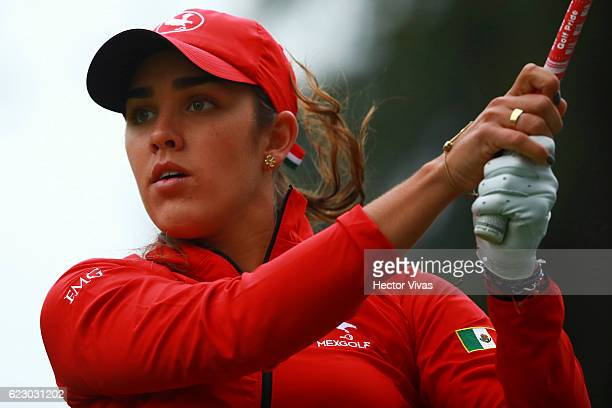 Maria Fassi of Mexico watches her 1st shot on the 2nd hole during the final round of the Lorena Ochoa Invitational 2016 at Club de Golf on November...