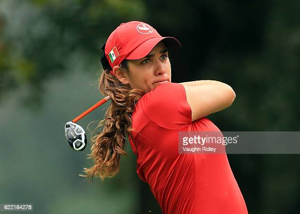 Maria Fassi of Mexico watches her 1st shot on the 4th hole during the first round of the Citibanamex Lorena Ochoa Invitational Presented By...