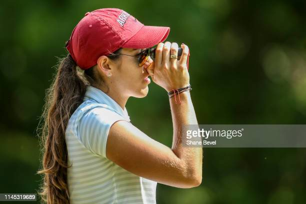 Maria Fassi of the University of Arkansas check the distance to the pin during the Division I Women's Golf Stroke Play Championship held at Blessings...
