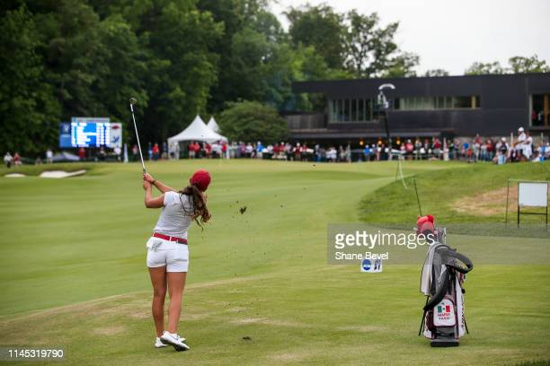 Maria Fassi of the University of Arkansas chips onto the 18th green during the Division I Women's Golf Stroke Play Championship held at Blessings...