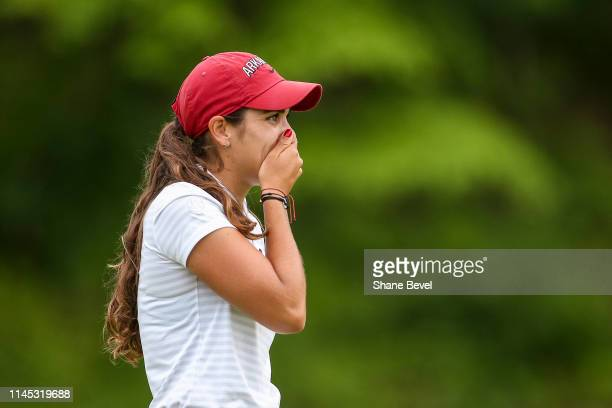 Maria Fassi of the University of Arkansas reacts to winning the Division I Women's Golf Stroke Play Championship held at Blessings Golf Club on May...