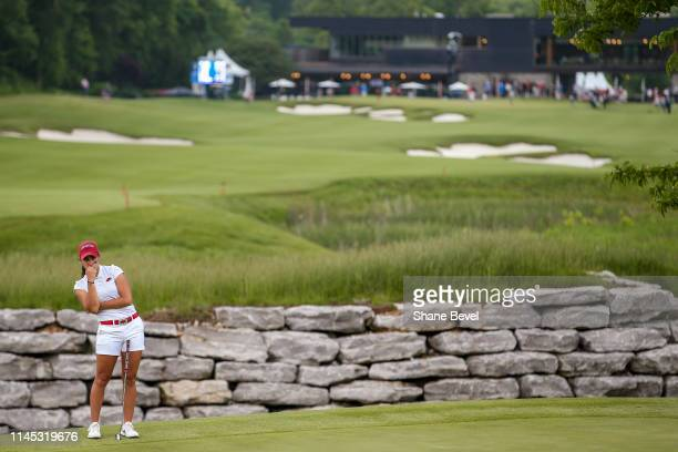Maria Fassi of the University of Arkansas watches a competitors putt during the Division I Women's Golf Stroke Play Championship held at Blessings...