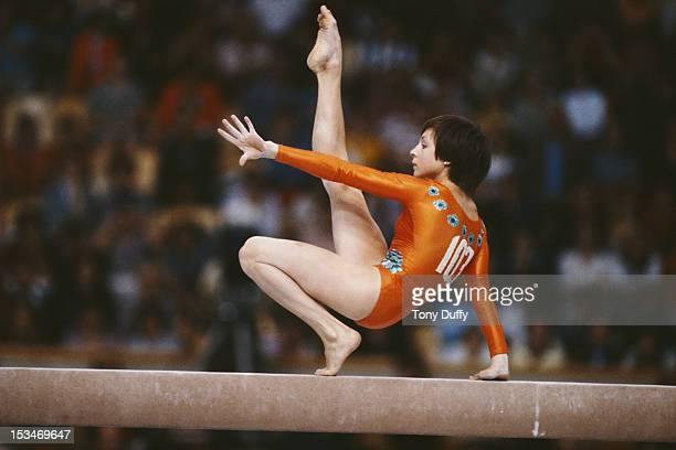 Maria Filatova of the Soviet Union performs during the Women's Balance Beam event on 1st November 1981 during the World Artistic Gymnastics...