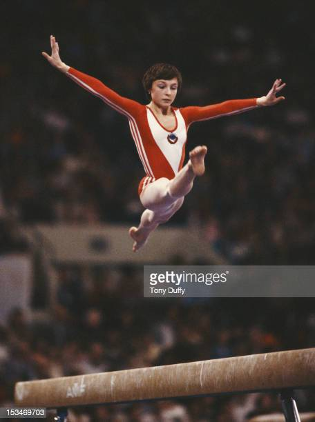Maria Filatova of the Soviet Union performs during the Women's Balance Beam event on 25th July 1980 during the XXII Olympic Summer Games at the...
