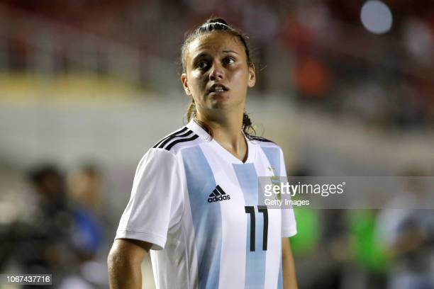 Maria Florencia Bonsegundo of Argentina looks on during a second leg match between Argentina and Panama as part of Women's World Cup Qualifier Play...