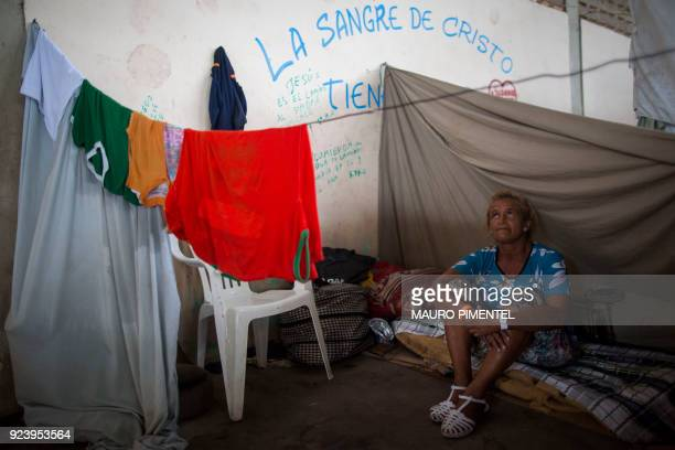 Maria Flores who works as housekeeper to send money to her family in Venezuela sits inside a shelter in the city of Boa Vista Roraima Brazil on...