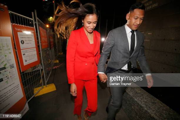 Maria Folau holds hands with husband Israel Folau as he leaves Federal Court on December 02 2019 in Melbourne Australia Folau is meeting with Rugby...
