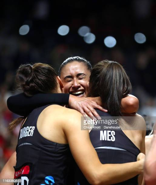 Maria Folau Karin Burger and Bailey Mes of New Zealand celebrate after winning The Final of The Vitality Netball World Cup between New Zealand and...