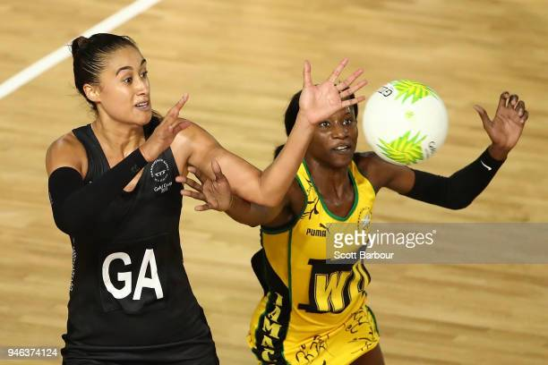 Maria Folau of New Zealand and Khadijah Williams of Jamaica compete for the ball during the Netball Bronze Medal Match on day 11 of the Gold Coast...