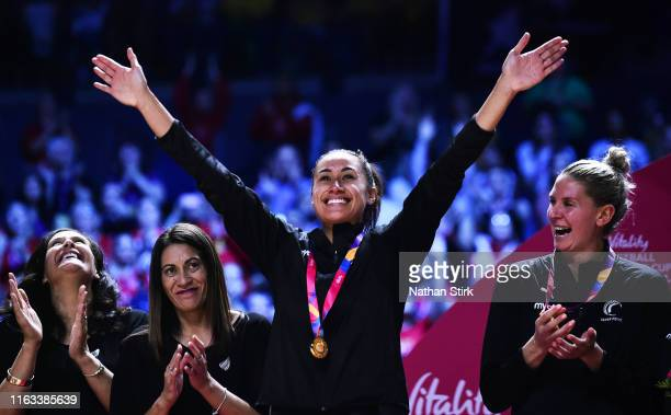 Maria Folau of New Zealand celebrates after winning the World Cup after the Vitality Netball World Cup Final match between Australia and New Zealand...