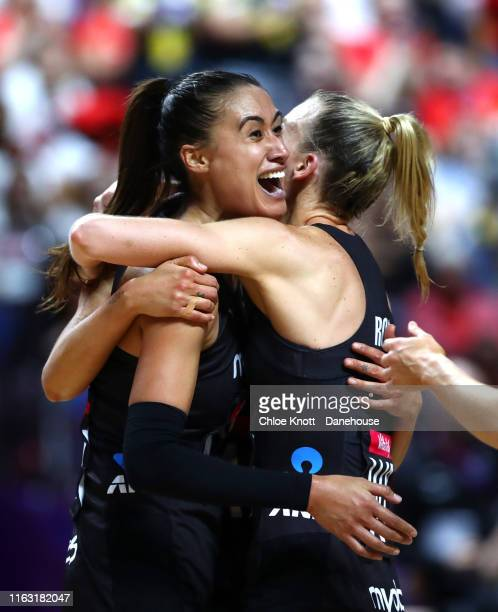 Maria Folau of New Zealand celebrates with her team mates after winning the Semi Final match between England and New Zealand at MS Bank Arena on July...