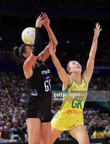 Maria Folau of New Zealand is challenged by Sarah Klau of Australia during the 2019 Constellation Cup match between the Australian Diamonds and the...