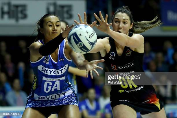 Maria Folau of the Mystics and Kate Lloyd of the Magic contest the ball during the round 12 ANZ Premiership match between the Mystics and Magic at...