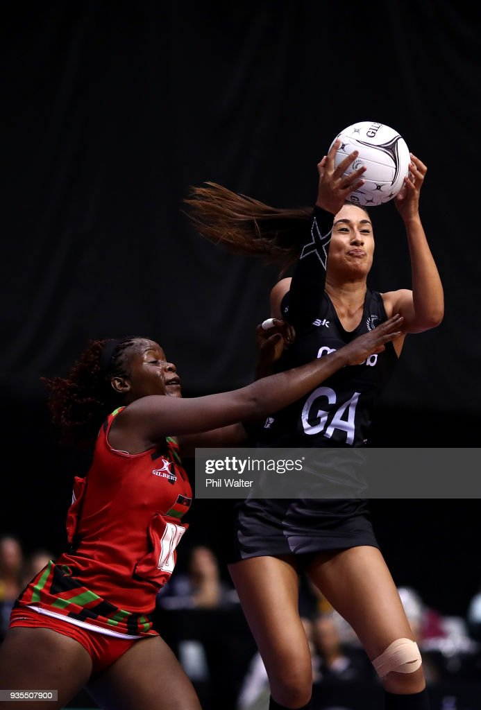 Maria Folau of the Silver Ferns takes a pass during the Taini Jamison Trophy match between the New Zealand Silver Ferns and the Malawai Queens at North Shore Events Centre on March 21, 2018 in Auckland, New Zealand.