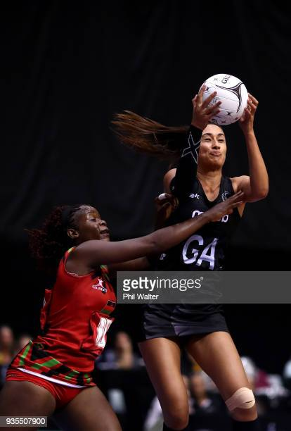 Maria Folau of the Silver Ferns takes a pass during the Taini Jamison Trophy match between the New Zealand Silver Ferns and the Malawai Queens at...