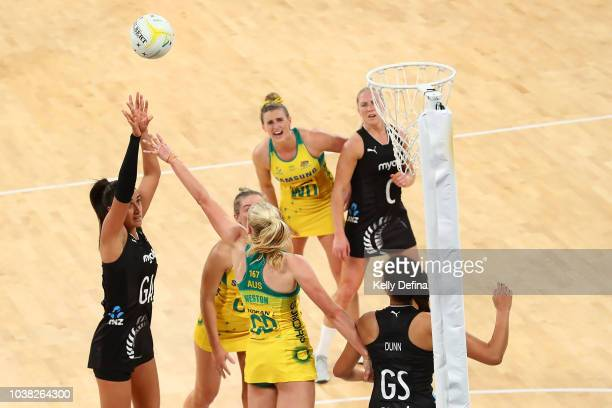 Maria Folau of the Silver Ferns under the defendsive pressure of Jo Weston of the Diamonds during the Quad Series International Test match between...