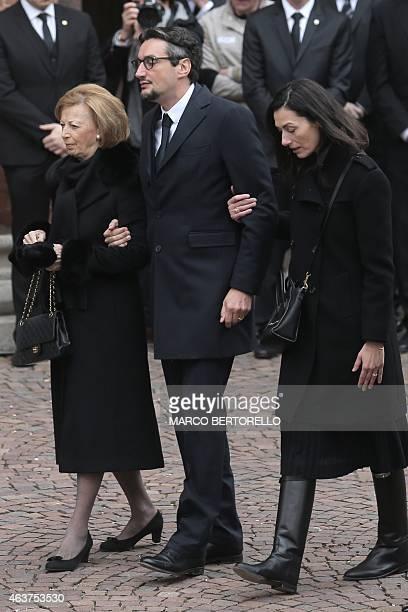 Maria Franca Ferrero the widow and his son Giovanni Ferrero arrive for the funeral of Michele Ferrero on February 18 2015 in Alba northern Italy...