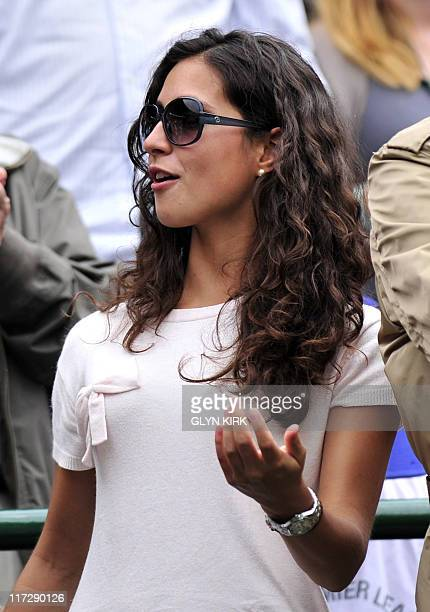 """Maria Francisca Perello, """"Xisca"""", girlfriend of Spanish player Rafael Nadal reacts after he won over Luxembourg player Gilles Muller during the men's..."""