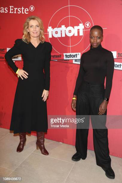 Maria Furtwaengler and Florence Kasumba during the Tatort premiere 'Das verschwundene Kind' at Astor Film Lounge on January 25 2019 in Hamburg Germany
