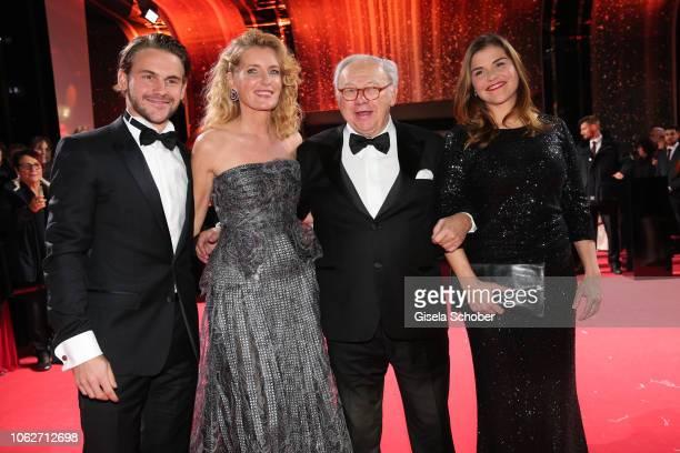 Maria Furtwaengler and her son Jakob Burda and her husband Dr Hubert Burda and Katharina Wackernagel during the Bambi Awards 2018 Arrivals at Stage...