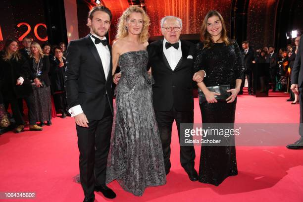 Maria Furtwaengler and her son Jakob Burda and her husband Dr Hubert Burda and Katharina Wackernagel during the Bambi Awards 2018 Arrivals at Stage...