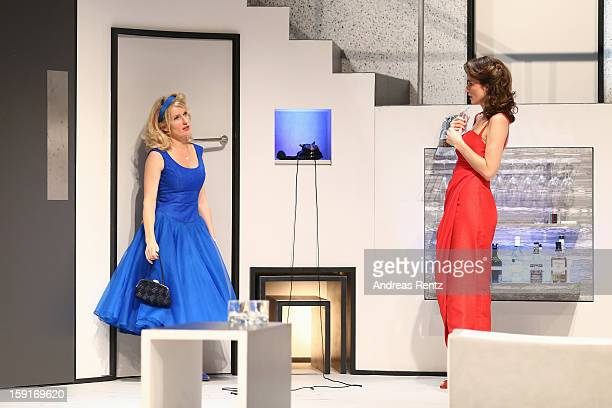 Maria Furtwaengler and Julia Bremermann perform during the 'GeruechteGeruechte' photo rehearsal at Komoedie am Kurfuerstendamm Theater on January 9...