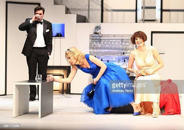 Maria Furtwaengler and Nicole Marischka perform during the 'Geruechte...Geruechte...' photo rehearsal at Komoedie am Kurfuerstendamm Theater on...