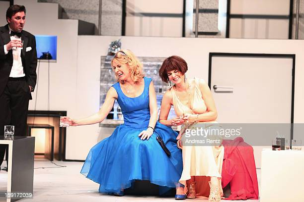 Maria Furtwaengler and Nicole Marischka perform during the 'GeruechteGeruechte' photo rehearsal at Komoedie am Kurfuerstendamm Theater on January 9...