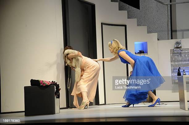 Maria Furtwaengler and Nicole Marischka performs during the 'Geruechte...Geruechte...' photo rehearsal at Komoedie am Kurfuerstendamm Theater on...