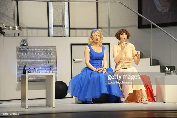 Maria Furtwaengler and Nicole Marischka performs during the 'GeruechteGeruechte' photo rehearsal at Komoedie am Kurfuerstendamm Theater on January 9...