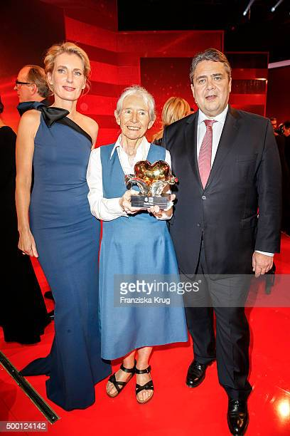 Maria Furtwaengler Karoline Mayer and Sigmar Gabriel attend the Ein Herz Fuer Kinder Gala 2015 show at Tempelhof Airport on December 5 2015 in Berlin...