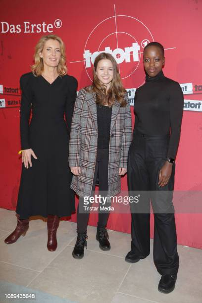 Maria Furtwaengler Lilly Barshy and Florence Kasumba during the Tatort premiere 'Das verschwundene Kind' at Astor Film Lounge on January 25 2019 in...