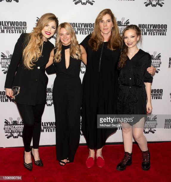 Maria Gabriela Cardenas Kaitlyn Squires Amy Williams and Rebekah Kennedy arrive at A Dark Foe Film Premiere on February 15 2020 in Los Angeles...