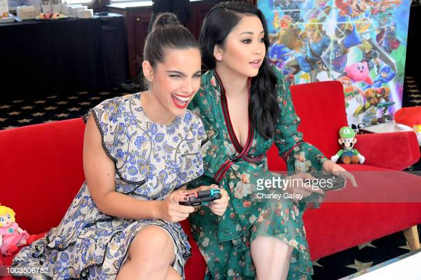 Maria Gabriela de Faria and Lana Condor put their gaming skills to the test playing Mario Kart 8 Deluxe on Nintendo Switch at the Variety Studio at...