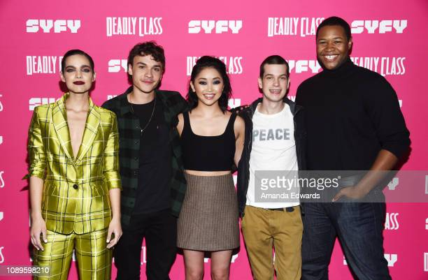 Maria Gabriela de Faria Benjamin Wadsworth Lana Condor Liam James and Luke Tennie arrive at SYFY's new series Deadly Class premiere screening at The...