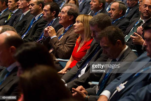 Maria Garana president of Microsoft Corp Spain center sits in the audience during a panel session at the 28th Telecommunications and Digital Economy...