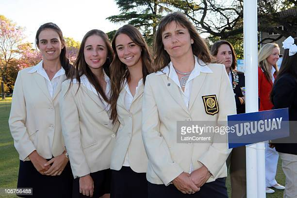 Maria Garcia Austt Maria Victoria Fernandez Manuela Barros and Patricia Mercader of the Uruguay's golf team during the opening ceremony of the World...