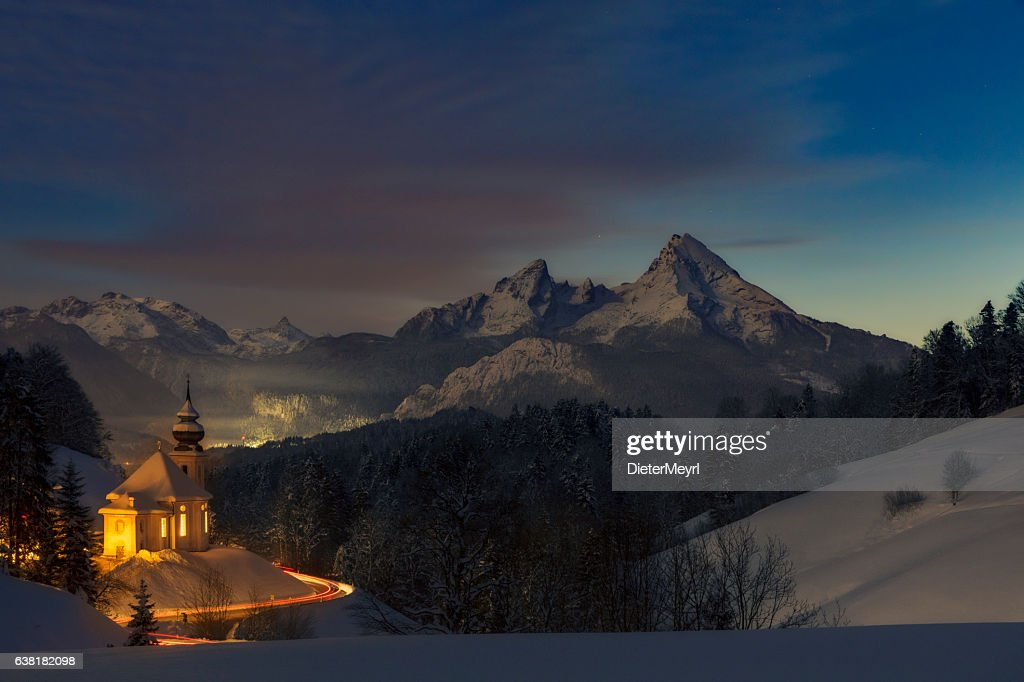 Maria Gern Church in Alps  Long exposure in the night : Stock Photo