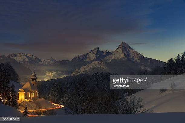 maria gern church in alps  long exposure in the night - berchtesgaden alps stock photos and pictures
