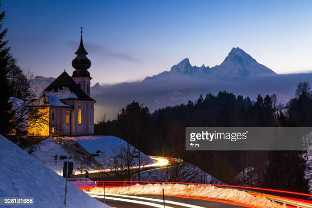 maria gern church in bavarian alps with watzmann in background - long exposure in the night (berchtesgadener land/ bavaria/ germany) - upper bavaria stock photos and pictures