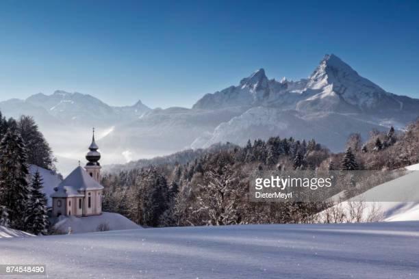 Kirche Maria Gern mit Watzmann im Winter, Berchtesgadener Land, Bayern, Deutschland