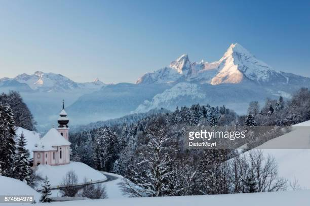 maria gern church with watzmann in winter, berchtesgadener land, bavaria, germany - pilgrimage stock pictures, royalty-free photos & images