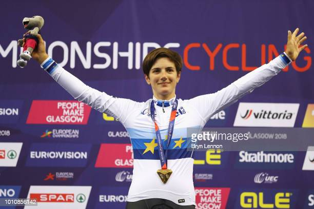 Maria Giulia Confalonieri of Italy celebrates with the gold medal in the victory ceremony in the 25km points race women on Day 3 of the European...