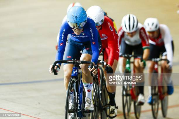 Maria Giulia Confalonieri of Italy competes in the final points race during the European Track Cycling Championships in Omnisport Apeldoorn the...