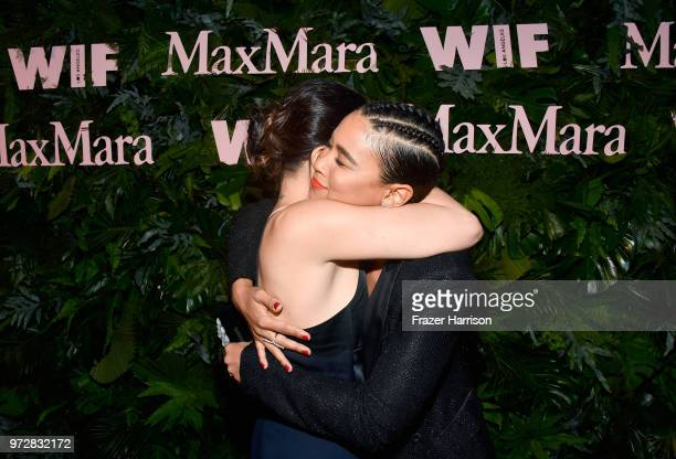 Maria Giulia Maramotti and Alexandra Shipp wearing Max Mara attend the Max Mara Celebration for Alexandra Shipp 2018 Women In Film Max Mara Face Of...