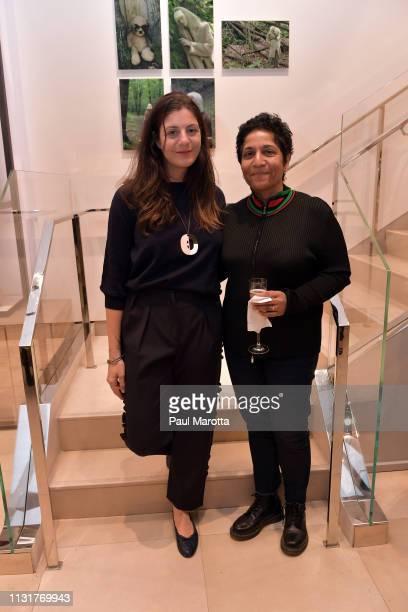 Maria Giulia Maramotti and Huma Bhabha attend the Max Mara Celebrates Huma Bhabha 'They Live' At ICA/Boston on March 20 2019 in Boston Massachusetts