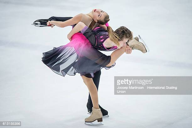 Maria Golubtsova and Kirill Belobrov of Ukraine compete during the Junior Ice Dance Free Dance on day two of the ISU Junior Grand Prix of Figure...