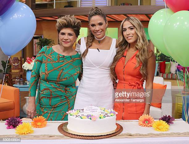 Maria Goretti Rubio Karla Martinez and Andree Martinez are seen on the set of Univision's morning show 'Despierta America' at Univision Studios on...