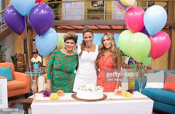 Maria Goretti Rubio Karla Martinez and Andree Martinez on the set of Univision's Despierta America in support of the film Teenage Mutant Ninja...
